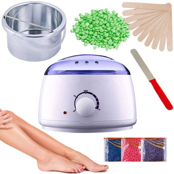 EVERLEE Wax Warmer Hot Wax Heater With Hair Removal Wax Beans(100gm) and Wooden Spatula With Waxing Wax Strips With Wax Knife For Hair Removal Waxing Kit For Women and Girls Wax
