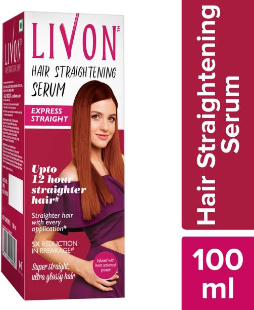 LIVON Hair Straightening Serum, Straighten Hair Instantly, 5X Less Breakage, Straighter Hair for upto 12 Hours, Super Straight & Ultra Glossy Hair