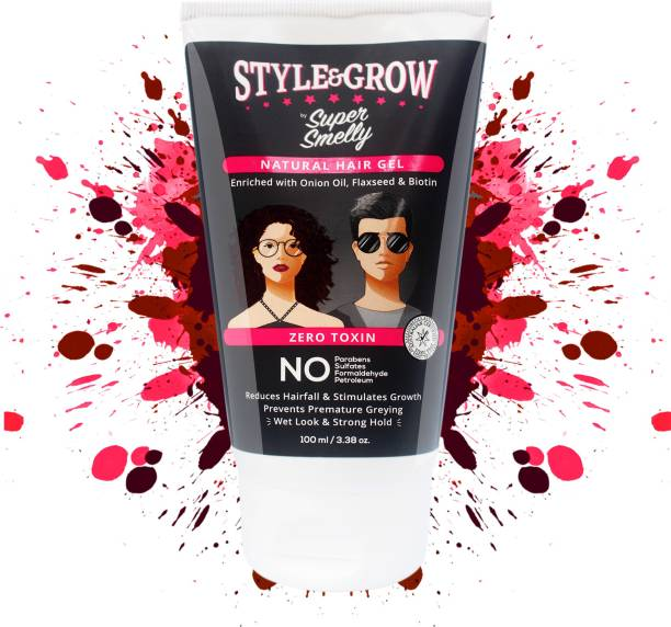 SUPER SMELLY Style & Grow Hair Gel - With Onion Oil - For Strong Hold with Wet Look Hair Gel