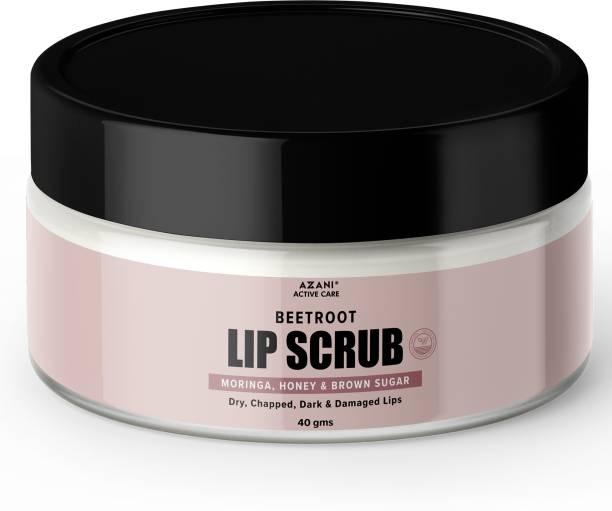 Azani Active Care Beetroot Lip Scrub  Gently Exfoliates Dried Lips  Moringa, Honey & Brown Sugar Beetroot, Honey