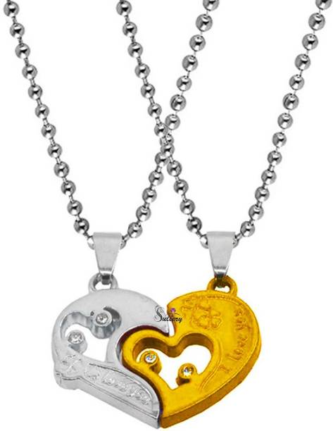 Sullery Valentine Gift Zirconia Crystals I Love You Engraved Heart Stylish Pendant Necklace Chain Unisex Jewellery 1 Pair of His And Her Lockets For Couple Boyfriend Girlfriend Husband Wife Gold-plated Cubic Zirconia Zinc, Metal Pendant Set