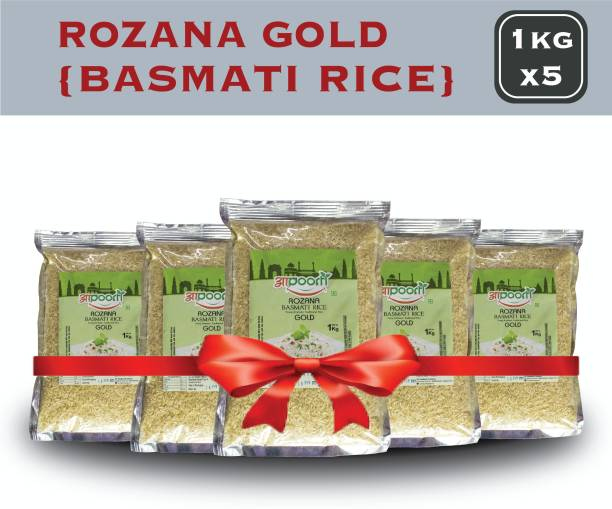aapoorti Rozana Gold, Basmati Rice Full Grain Aromatic Basmati Pack of 5 Yellow Basmati Rice (Full Grain, Unpolished)