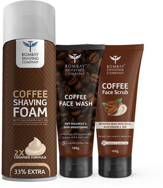 BOMBAY SHAVING COMPANY Coffee Shaving Kit With Coffee Face Wash, Coffee Scrub & Coffee Foam