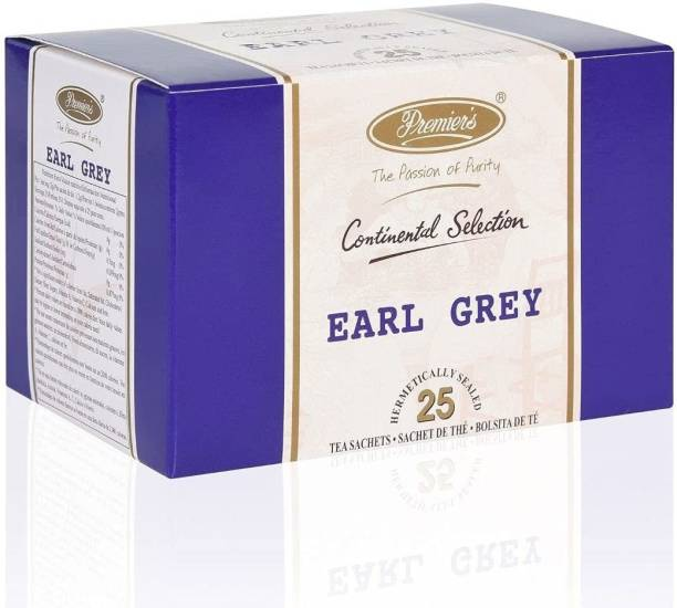 Premiers Earl Grey Tea | Flavor | 25 Cups | 50 Grams | Brew Hot or Iced | Tea Bags Bergamot Orange Tea Bags Box
