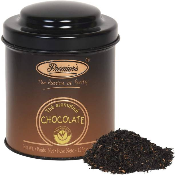 Premiers Chocolate Flavoured Tea | 62 Cups | 125 Grams | PM Metal Domed Caddy Tea Tin