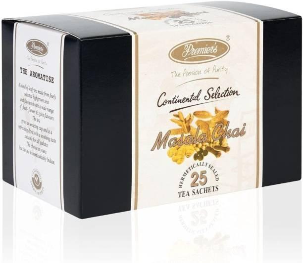 Premiers Masala Chai | 25 Cups | 50 Grams | Tea Bags Spices Masala Tea Bags Box
