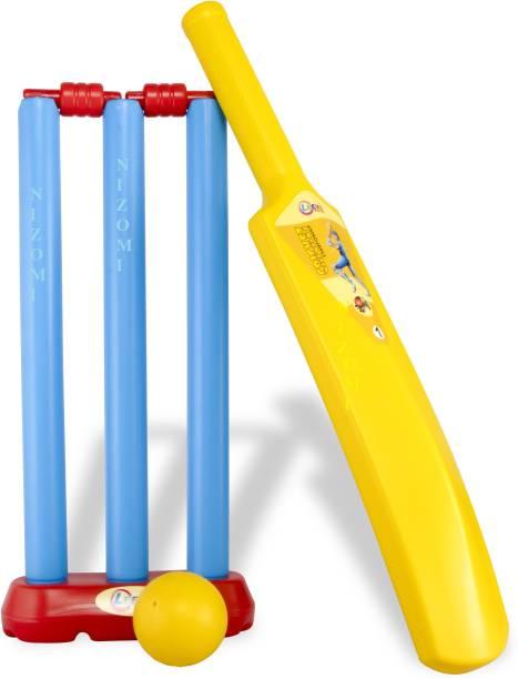 Nizomi Cricket Bat Kit Game Pretend Play Sports Set Accessories | Made in India | Junior Cricket Style Set Unbreakable Toys, Beach Toys for Kids Or Park Garden Toys | Bat Ball Set Cricket Kit