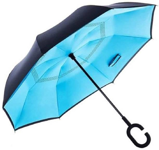 SHOPPOFOBIX Reverse Travel C Type Handle Double Layer Inverted Upside Down Reversible Folding Self Stand No Drip Umbrella Umbrella