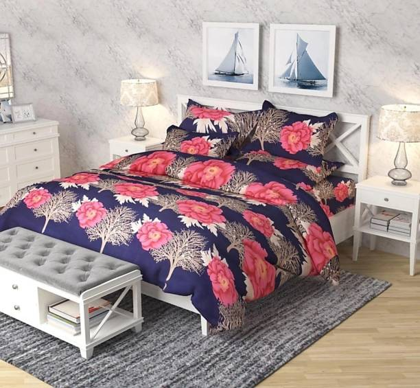 H18 SHEET 144 TC Microfiber Double Floral Bedsheet