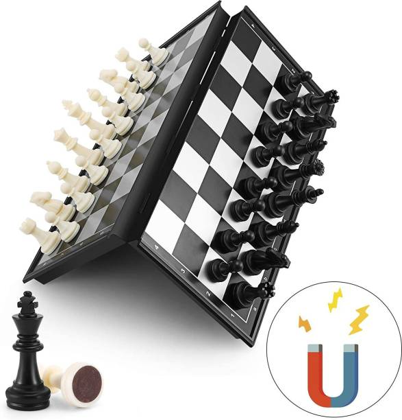 Royaldeals Magnetic Travel Chess Set with Folding Chess Board Educational Toys for Kids and Adults, 10inch Educational Board Games Board Game