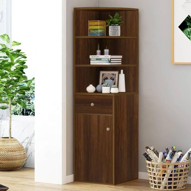KAWACHI Corner Display Cabinet Bookshelf Rack Engineered Wood Semi-Open Book Shelf