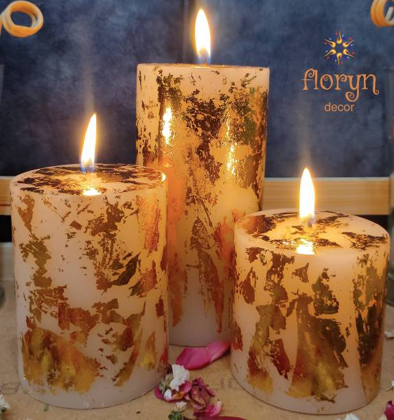 Floryn decor Gold Dust Pillar Candle