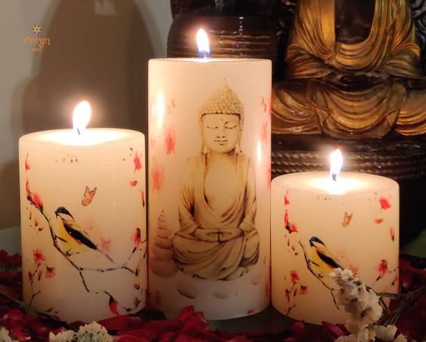 Floryn decor Buddha Image Printed Pillar Candles (Set of 3) Candle