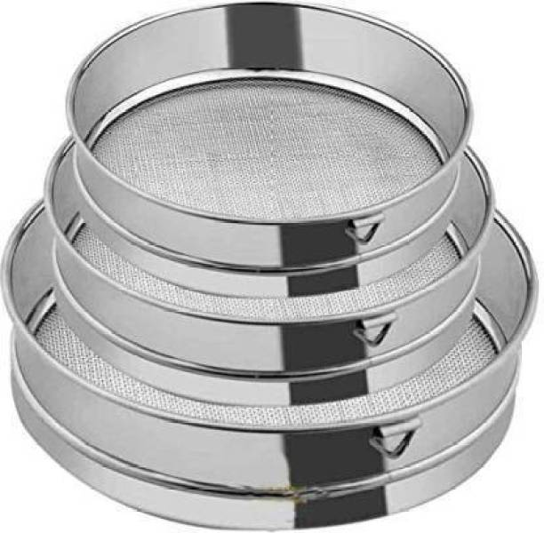 Blue Earth 3 Stainless Steel Flour Chalni,Spices,Food Strainers,Atta Chalni,Sieve Set of 3 Pcs (Fine Mesh) Sieve