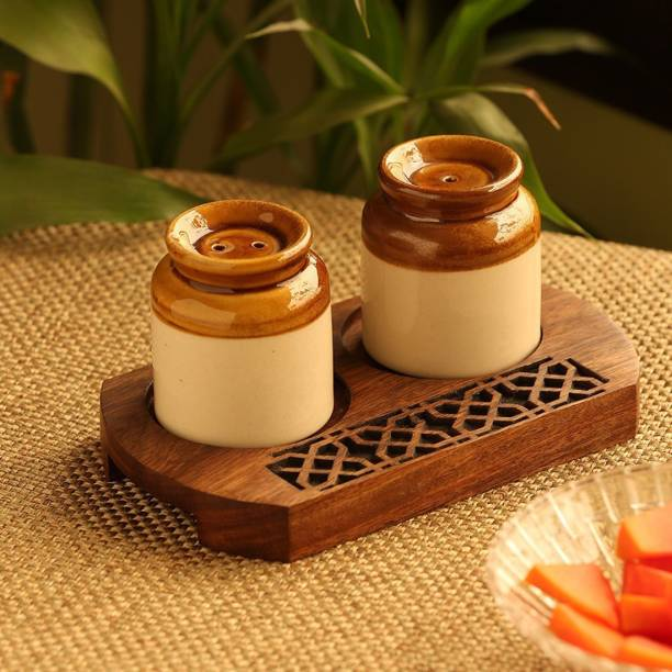 ExclusiveLane Old Fashioned Martban Spice Shaker With Hand Carved Tray 3 Piece Salt & Pepper Set