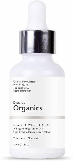 Dravida Organics Vitamin C Face Serum for Glowing Skin, 30 ml | Highly Stable & Effective Skin Brightening Vit C Serum For Women & Men