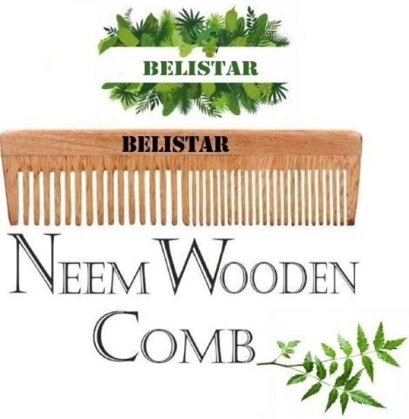 BELISTAR Natural Organic Handmade Neem Wood Broad Tooth Anti-Dandruff Comb For Men And Women