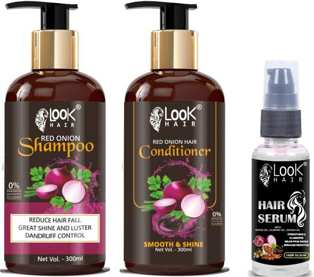 look hair Onion Shampoo, Conditioner, Hair Serum Combo 3 In 1 Combo