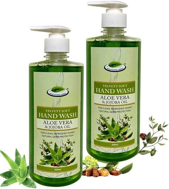 khadi natural herbal Velvety Soft Hand Wash Aloe Vera & Jojoba Oil (Pack of 2) Hand Wash Pump Dispenser