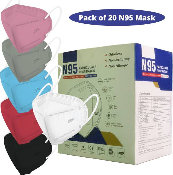VESTURE STUDIO VESTURE STUDIO'S N95 Face Mask, Multiple Colour 6 Layers Protection (2 melt blown layers), Filter Efficiency?95% Protection Against PM2.5 Dust, Air Pollution. Third Party Tested by Manufacturer at U.S. FDA, GMP, ISO and CE. (BOX SEALED PACKING) (MULTI COLORS) N95 PACK OF 20 Water Resistant, Reusable, Washable