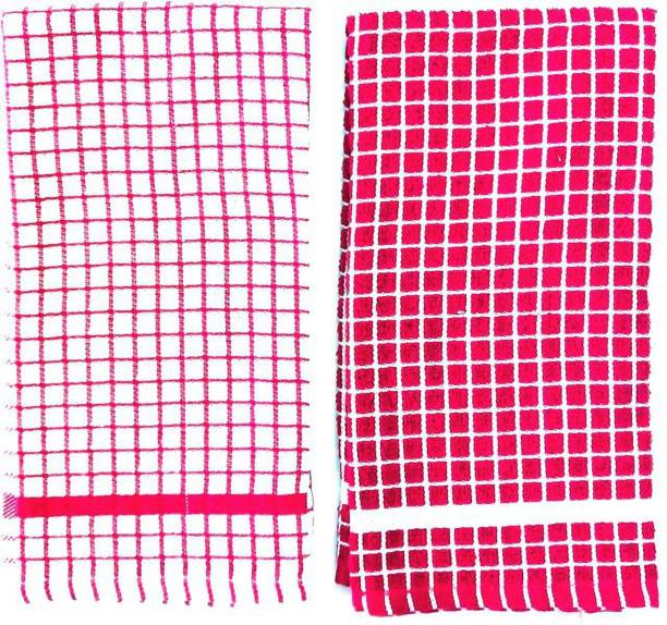 BRODEES Kitchen Towel Pack of 2   320 GSM Quality   Terry Kitchen Towel   Size 40 x 60 Cm Red Napkins