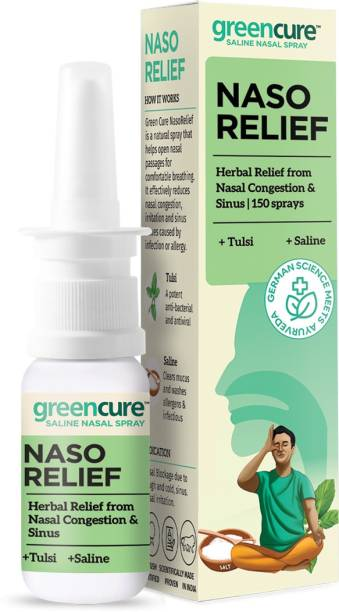 GREEN CURE Nasorelief Herbal Relief from Nasal Congestion, Allergies & Sinus with Tulsi & Saline, German Science with Ayurveda, AYUSH Ministry Certified - 15ml