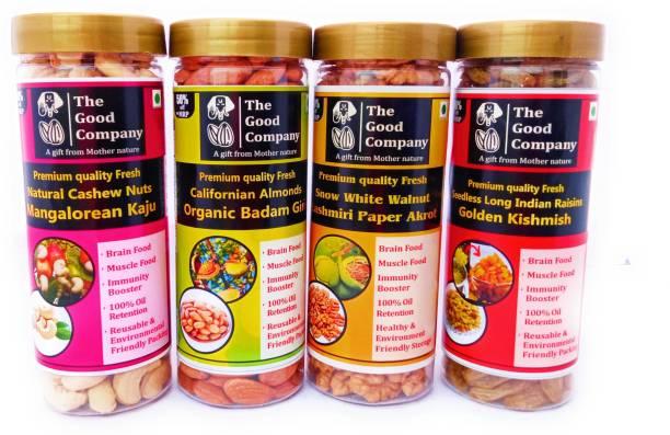 The Good Company Royal combo set of Almonds/Badam, walnuts/Akrot, cashews/Kaju, and Long Indian Raisins/ kishmish ( 04 Pack of 250gm each) Almonds, Cashews, Walnuts, Raisins