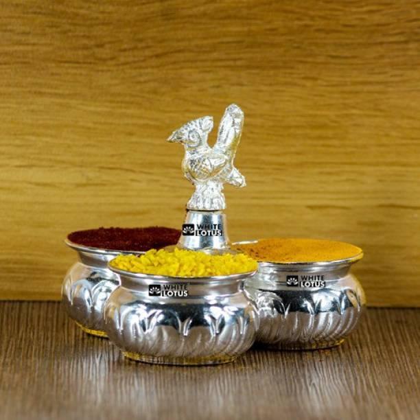 WHITE LOTUS Haldi Kumkum Panchwala Silver Plated