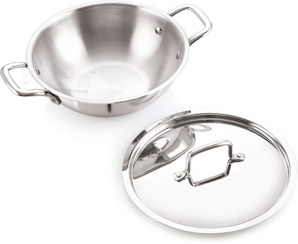 iVBOX ® Platina Induction Bottom 22cm Tri-Ply Stainless Steel Kadai with Lid, 2 Ltr Kadhai 22 cm diameter with Lid 2 L capacity