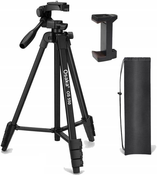 OSAKA 550 Tripod 55 Inches with Mobile Holder and Carry Case for Smartphone & SLR Camera Portable Lightweight Aluminium Tripod Tripod