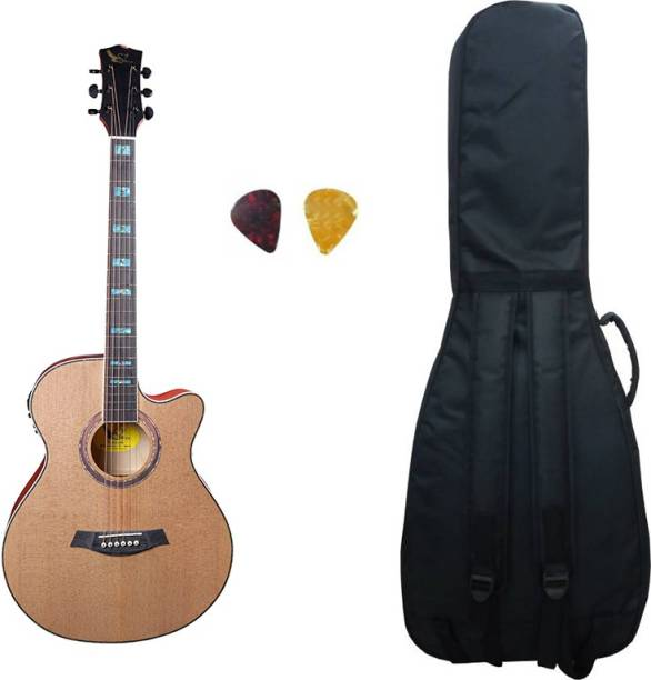 swan7 40C Semi Acoustic Guitar Natural Matt Maven Series with Equalizer With Bag and Picks Semi-acoustic Guitar Spruce Rosewood Right Hand Orientation