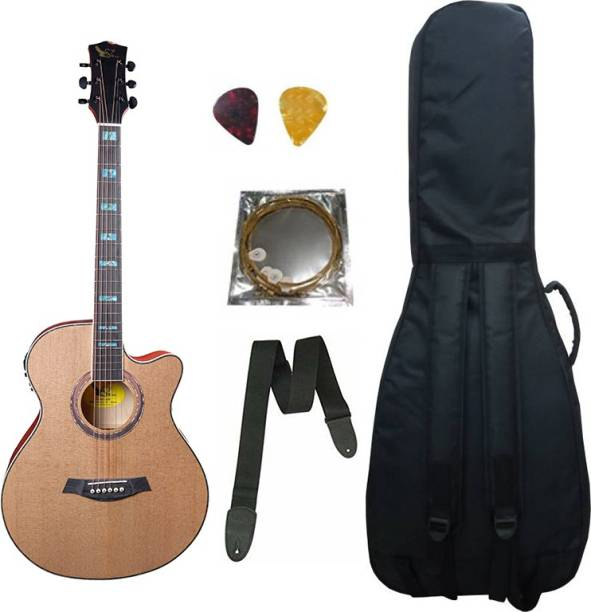 swan7 40C Semi Acoustic Guitar Natural Matt Maven Series with Equalizer With Bag ,String ,Strap and Picks Semi-acoustic Guitar Spruce Rosewood Right Hand Orientation