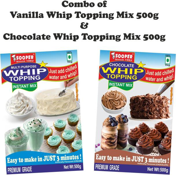 SOOPER WHIP TOPPING MIX VANILLA 500g + CHOCOLATE 500g COMBO Topping