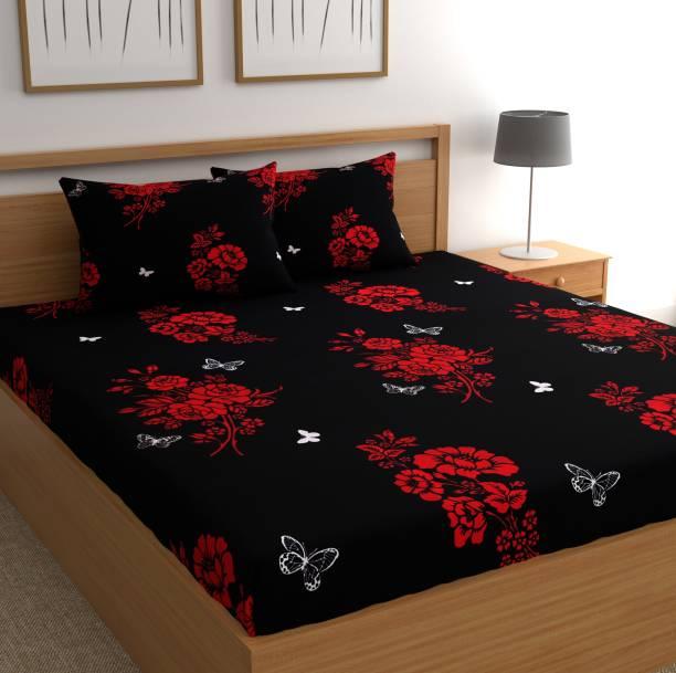 CHHAVI INDIA 144 TC Microfiber Double Floral Bedsheet