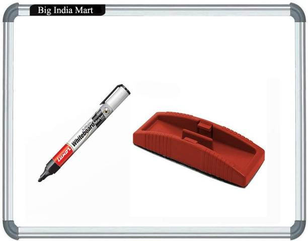 Big India Mart Non Magnetic Plastic Whiteboard 2X2 ft. one Side White Marker and Reverse Side Chalk Board Surface with 1 Marker and 1 Duster Whiteboards