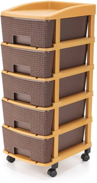 Prizam Plastic Free Standing Chest of Drawers (Finish Color - Brown) Plastic Free Standing Chest of Drawers