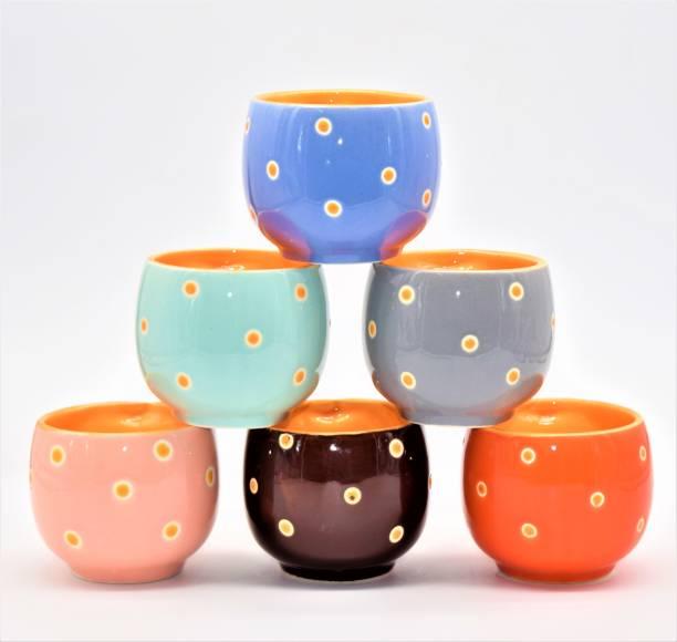 Zaar Pack of 6 Ceramic, Bone China Colorful Designer Premium Quality Tea Cup Set, Coffee Cup Set