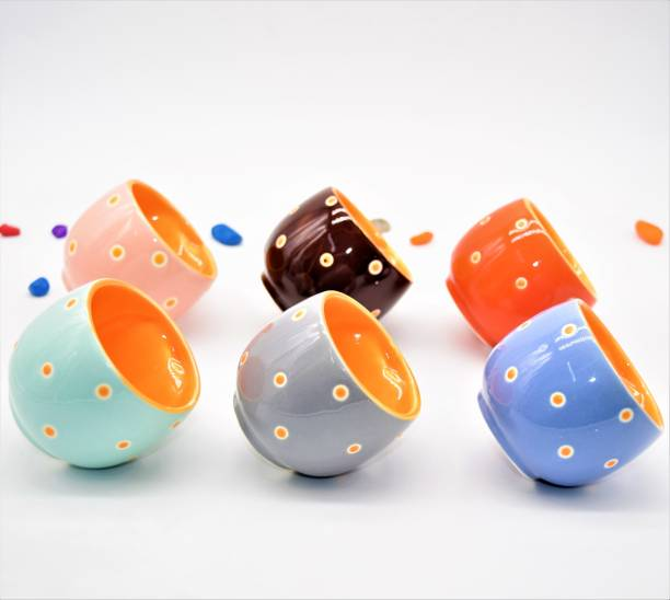 The Cuppist Pack of 6 Bone China, Ceramic Colorful Designer Premium Quality Tea Cup Set, Coffee Cups Set