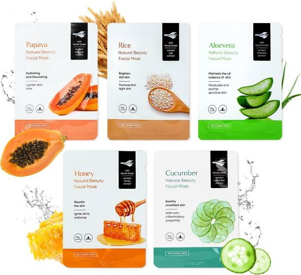 MINISO Natural Beauty Facial Mask(Papaya+Rice+Aloevera+Hone+Cucumber)