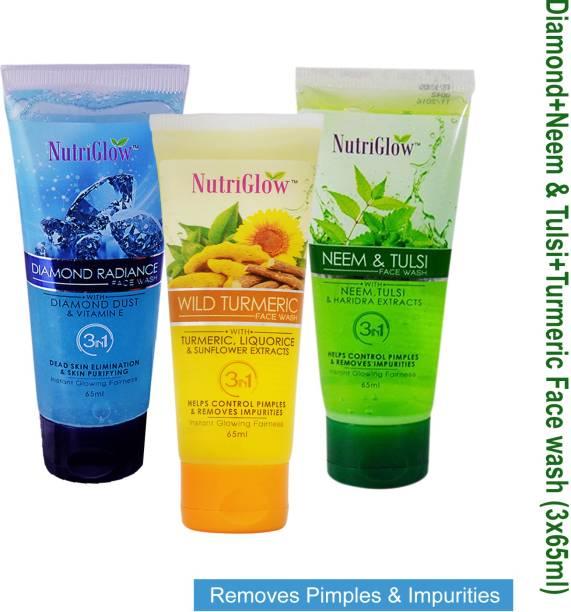 NutriGlow Facewash Pack of 3 Diamond Radiance, Neem Tulsi, Wild Turmeric. Face Wash