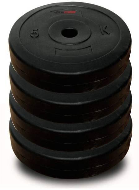 FBX 20kg PVC Weight Plates (5kg x 4) Black For Home Gym & Dumbbells Black Weight Plate