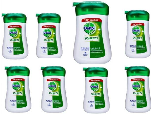 Dettol SQUEEZY PACK LIQUID HANDWASH [ PACK OF 8 ] 100 ML EACH BOTTLE TOTAL 800 ML original EVERYDAY PROTECTION Protects against 100 illness causing germs [ Recommended By INDIAN MEDICAL ASSOCIATION ] 100 + WASHES. Hand Wash Pump Dispenser