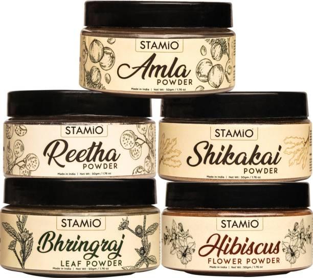 STAMIO Pure Amla Reetha Shikakai Bhringraj Hibiscus Powders Combo for Healthy Hair & Scalp, 50gm Each
