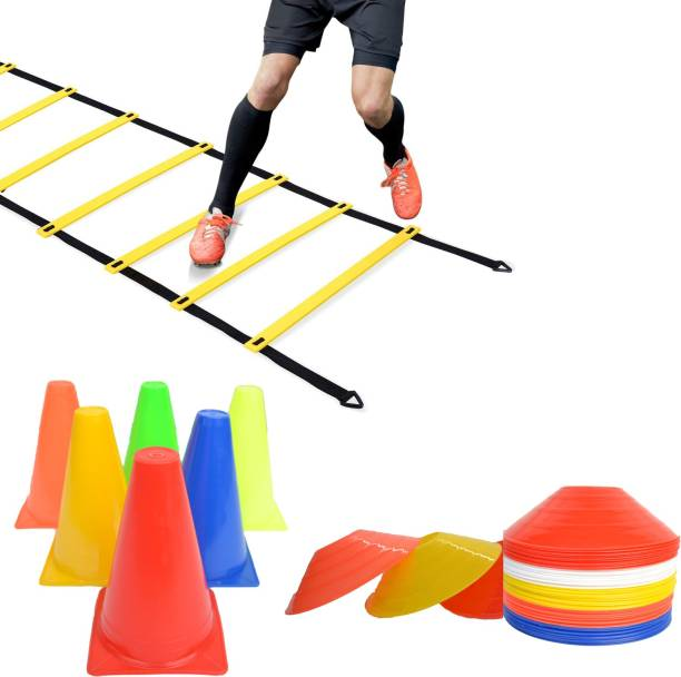 ESCOBAR Agility Cone 6 Inch (Pack of 6), 10 Space Marker and 4 Meter Agility Ladder Football Kit