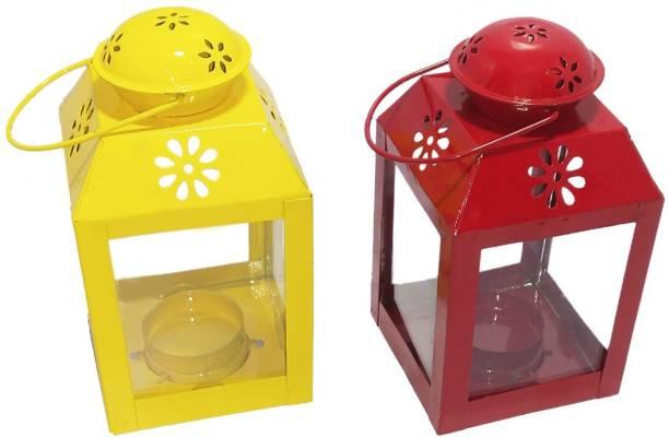 Designer International Designer International Decorative Moksha Hanging Lantern/Lamp with t-Light Candle, SET OF 2 YELLOW,RED Yellow, Red Iron Hanging Lantern