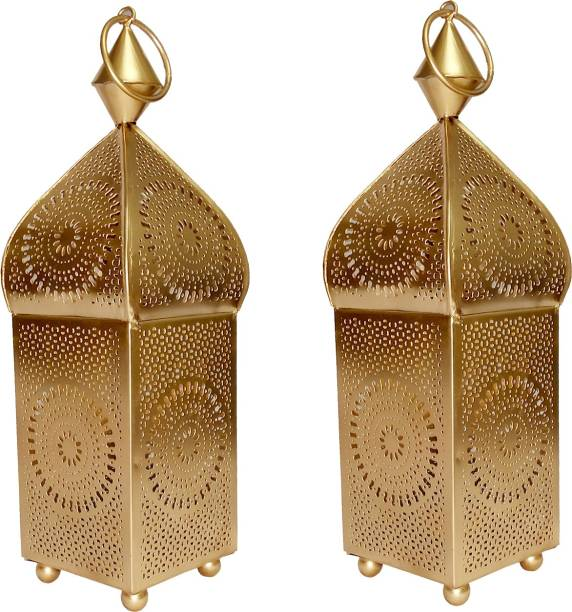 Designer International Designer International Decorative Moksha Hanging Lantern/Lamp with t-Light Candle, SET OF 2 Gold Iron Hanging Lantern