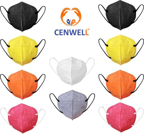 CENWELL N95 / KN95 FFP2 5 Layer Reusable Anti - Pollution , Anti - Virus Breathable Face Mask N95 Washable ( White ) for Men , Women and Kids mask respirator GV601 Water Resistant, Reusable (Free Size, Pack of 10) Mask N95 MASK Water Resistant, Washable