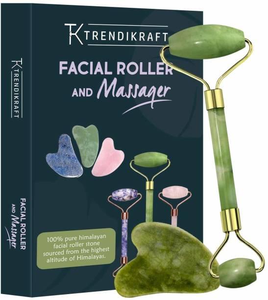 TRENDIKRAFT JTZM-5 Natural Jade Double Sided Face Roller & Gua Sha Scraping Facial Massager Massage Stone Beauty Tool for Face Neck Toning, Firming & Serum Application Massager