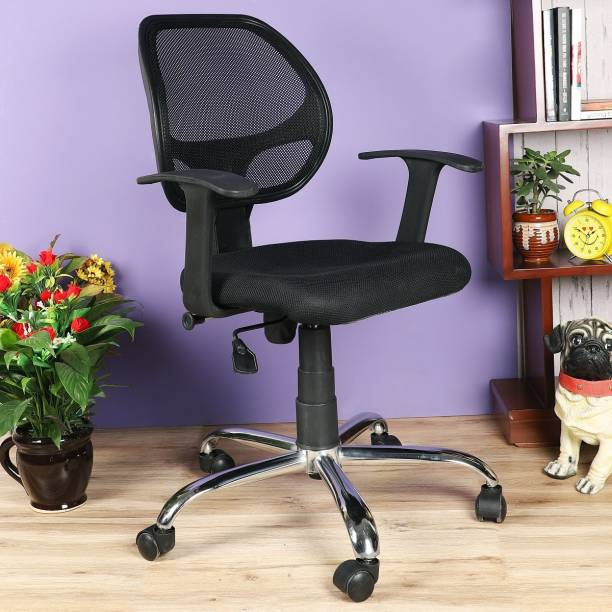 DZYN FURNITURES Afectuosa Low Back Fabric, Linen Office Executive Chair