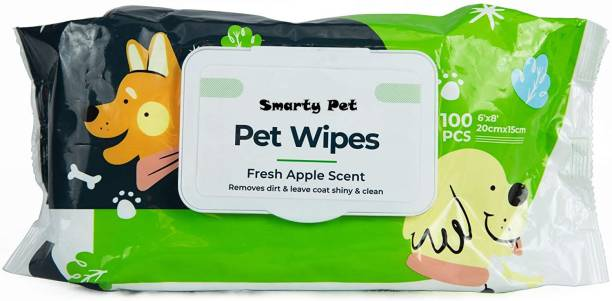 """Pet Club Wet Pet Wipes for Dogs, Puppies & Pets with Fresh Apple Scent 6""""x 8"""" Pet Ear Eye Wipes"""